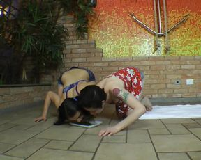 Giant Girl Cinthia rides on two skinny ponygirls
